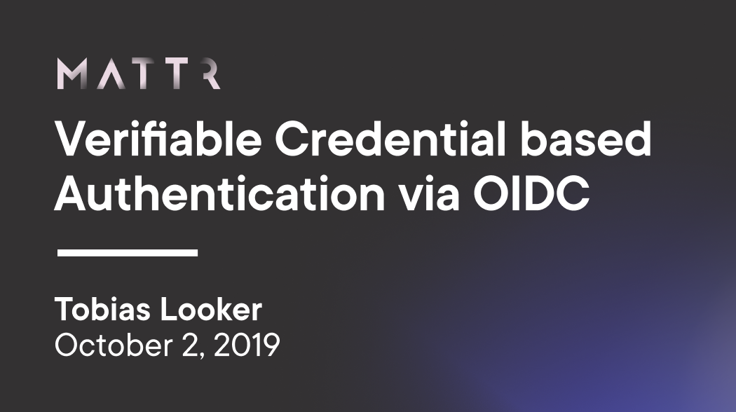 Verifiable Credential based Authentication via OpenID Connect